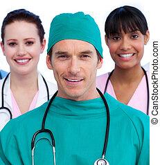 retrato, de, un, unido, equipo médico
