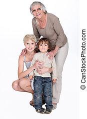 retrato, de, vó, com, filha, e, neto