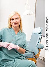 retrato, dental, trabalhador