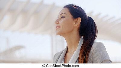retrato, deslumbrante, mulher, sofisticado