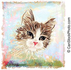 retrato, dibujado, velloso, gato, mano