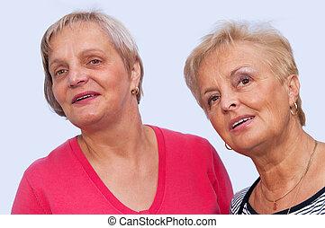 retrato, dos, mujeres