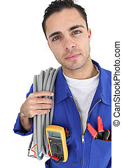 retrato, electricista