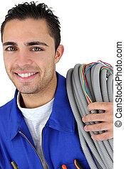 retrato, electricista, joven