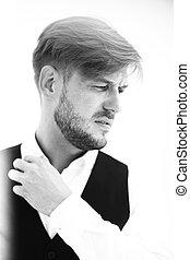 Retrato, elegante, bonito, homem, paleto