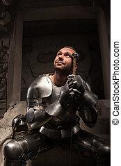 retrato, emocional, medieval, caballero