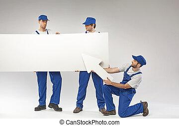 retrato, empregados, três