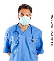 retrato, enfermeira, macho