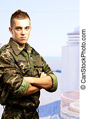 retrato, enojado, soldado