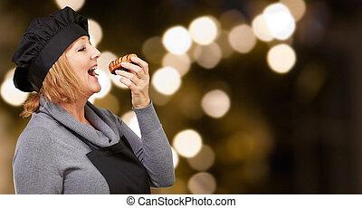 retrato, enquanto, comer mulher, massa