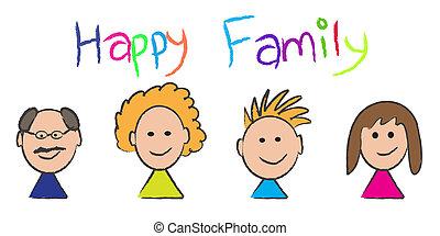 retrato, esboço, família, feliz
