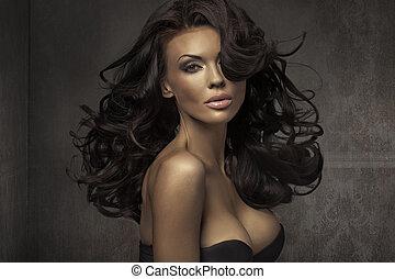 retrato, espantoso, mulher, sensual
