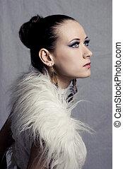 retrato, estilo, modelo moda