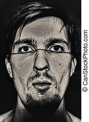 retrato, estranho, homem jovem