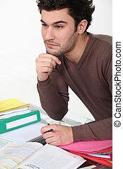 retrato, exames, estudante, abarrotar