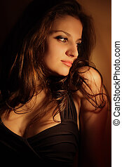 retrato, excitado, mulher bonita