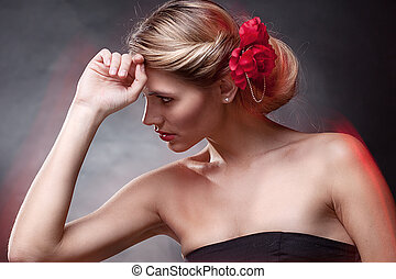 retrato, exclusivo, mulher, jóia, luxo