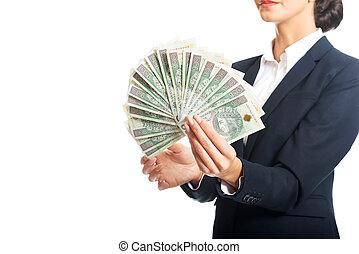 retrato, executiva, segurando, um, clip, de, polaco, dinheiro