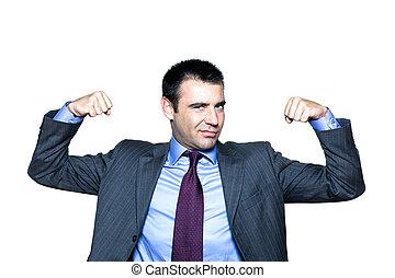 retrato, expressivo, músculos, flexionar, homem