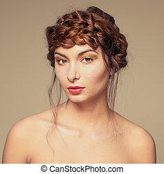 retrato, extravagante, oro, maquillaje, en, lindo, niña, cara