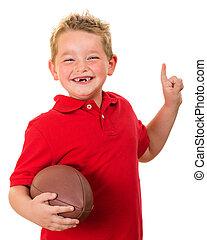 retrato, fútbol, niño