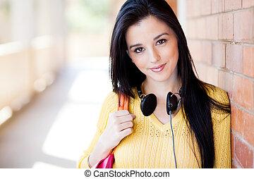 retrato, faculdade, aluno feminino