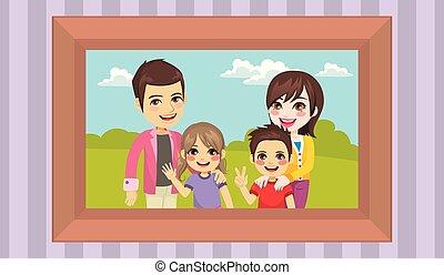 retrato, família, junto, feliz