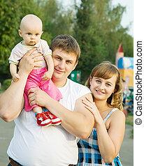 retrato, familia , feliz
