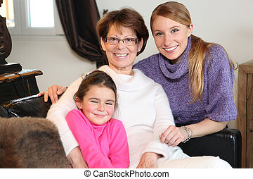 retrato, familia , tres generaciones