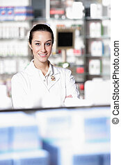 retrato, farmacéutico, hembra, farmacia