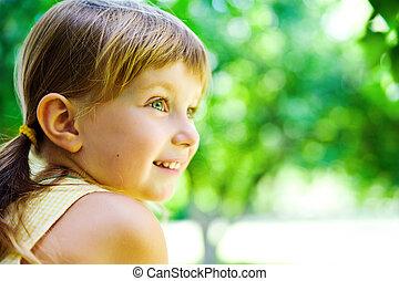 retrato, feliz, criança