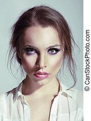 retrato, femininas, sensual, jovem, beleza