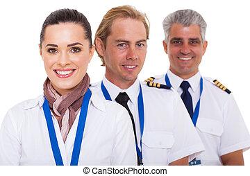 retrato, fim, tripulação, cima, linha aérea