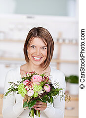 retrato, flores, mulher