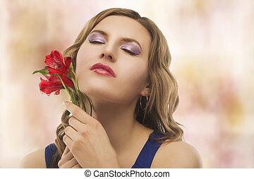 retrato, flores, mulher, jovem, loura