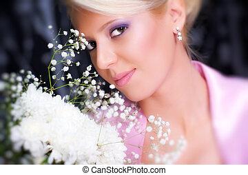 retrato, flores, mulher, romanticos, jovem