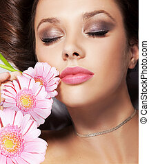 retrato, flores, senhora, beleza