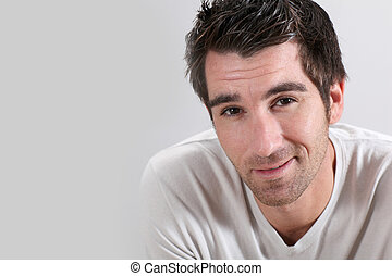 retrato, fundo branco, homem
