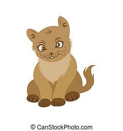 retrato, gato, aislado, mano, dibujado