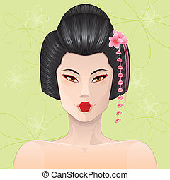 retrato, geisha