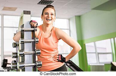 retrato, ginásio, mulher, jovem, rir