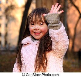 retrato, girl., feliz