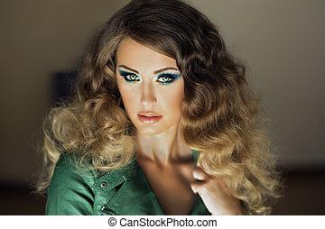 retrato, girl., jovem, beleza, atraente