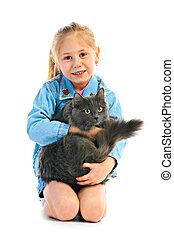 retrato, girlie, con, gato