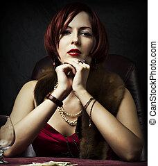 retrato, glamour, mulher, moda, excitado