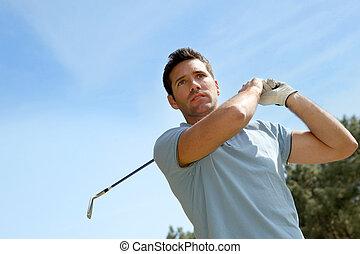 retrato, golfista, juego, verano