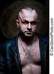 retrato, goth, homem