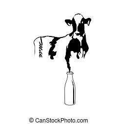 retrato, grande, vaca negra y blanca, vector