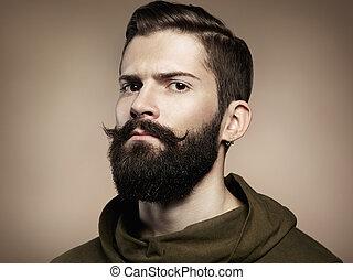 retrato, guapo, barba, hombre