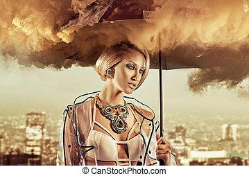 retrato, guarda-chuva, esfumaçado, conceitual, mulher segura